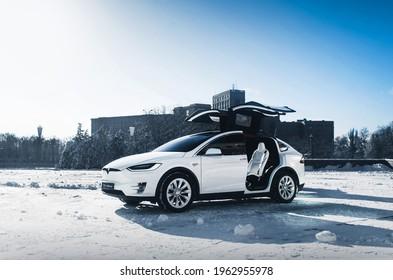 Kharkiv, Ukraine - January 2018: Tesla Model X with doors open