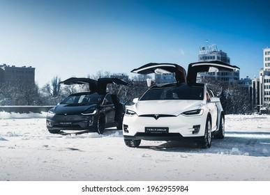 Kharkiv, Ukraine - January 2018: Two Tesla Model X with doors open