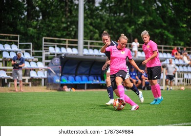 KHARKIV, UKRAINE - July 31, 2020: Woman football match Zhilstroi-1 vs. Voshod. There is no lockdown. Public events are allowed. Europe match of football during CV pandemic.