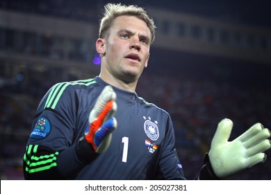 KHARKIV, UKRAINE - JUNE 13, 2012: Goalkeeper Manuel Neuer of Germany in action during UEFA EURO 2012 game against Netherlands on Kharkiv Arena