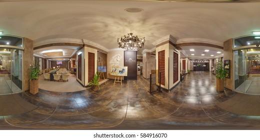 Kharkiv, Ukraine - June 2016: Full 360 equirectangular equidistant spherical panorama view of lobby of luxury hotel. VR content