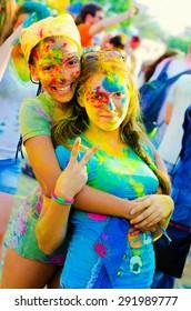 KHARKIV, UKRAINE- June 22: Holi celebrations on June 22, 2015 in Kharkiv, Ukraine. Celebrating the Indian festival of colors and spring Holi in Gorky Park