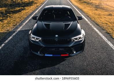 Kharkiv, Ukraine - March 2020: BMW M5 Competition in Carbon Schwarz color