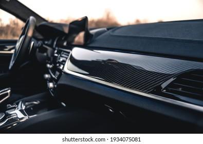 Kharkiv, Ukraine - March 2020: BMW M5 Competition in Carbon Schwarz color (carbon interior)