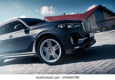 Kharkiv, Ukraine - March 2021: Brand new exclusive SUV BMW Alpina XB7