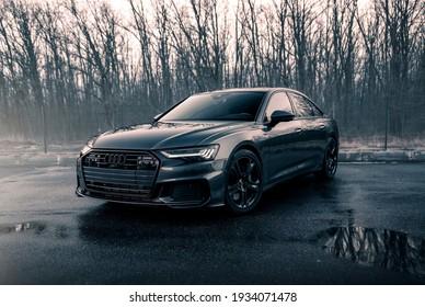 Kharkiv, Ukraine - March 2021: Brand new Audi A6