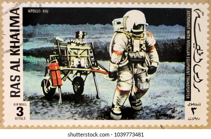 KHARKIV, UKRAINE - MARCH 5, 2018: Old post stamp of Ras Al Haima, dedicated to space exploration and first astronauts.