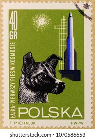 KHARKIV, UKRAINE - MARCH 5, 2018: Post stamp of Poland dedicated to Laika, the first dog that have flown in outer space and the first animal to orbit the Earth.