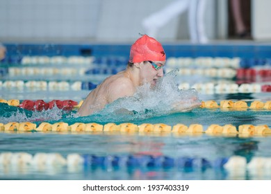 KHARKIV, UKRAINE - MARCH 6, 2021: Winter Championship of Ukraine in swimming