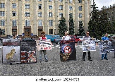 KHARKIV, UKRAINE MAY 16:Organized rally protect of animals in connection with murder homeless animals to  EURO Championship while public demonstration of cup UEFA in Kharkiv, Ukraine on May16, 2012.