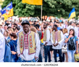 Kharkiv, Ukraine - May 17, 2018: Peple celebrating the day of the national ukrainian embroidered shirt in the cenre of the town