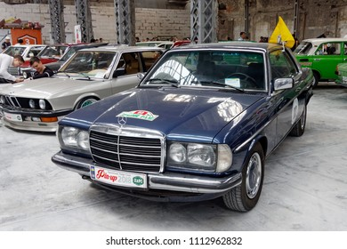 Kharkiv, Ukraine - May 19, 2018: Retro car Mercedes-Benz W123 200CE manufactured in 1980 is presented at the festival of vintage cars Kharkiv Retro Rally - 2018 in Kharkiv, Ukraine on May 19, 2018