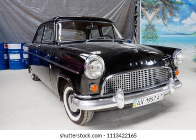 Kharkiv, Ukraine - May 19, 2018: Retro car black Ford Consul Mark II manufactured in 1957 is presented at the festival of vintage cars Kharkiv Retro Rally - 2018 in Kharkiv, Ukraine on May 19, 2018