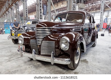 Kharkiv, Ukraine - May 19, 2018: Retro car De Soto S6 manufactured in 1939 is presented at the festival of vintage cars Kharkiv Retro Rally - 2018 in Kharkiv, Ukraine on May 19, 2018