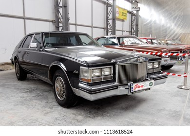 Kharkiv, Ukraine - May 19, 2018: Retro car black Cadillac Seville is presented at the festival of vintage cars Kharkiv Retro Rally - 2018 in Kharkiv, Ukraine on May 19, 2018