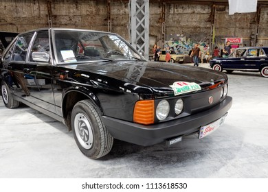 Kharkiv, Ukraine - May 19, 2018: Retro car black Tatra T-613 manufactured in 1992 is presented at the festival of vintage cars Kharkiv Retro Rally - 2018 in Kharkiv, Ukraine on May 19, 2018