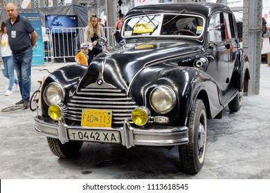 Kharkiv, Ukraine - May 19, 2018: Retro car black BMW 340 manufactured in 1949 is presented at the festival of vintage cars Kharkiv Retro Rally - 2018 in Kharkiv, Ukraine on May 19, 2018