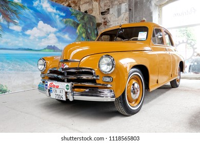 Kharkiv, Ukraine - May 19, 2018: Soviet retro car GAZ M20 Pobeda manufactured in 1955 exhibited at the festival of vintage cars Kharkiv Retro Rally - 2018 in Kharkiv, Ukraine on May 19, 2018