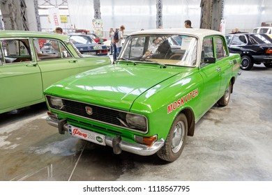 Kharkiv, Ukraine - May 19, 2018: Soviet retro car Moskvich 2140 manufactured in 1976 exhibited at the festival of vintage cars Kharkiv Retro Rally - 2018 in Kharkiv, Ukraine on May 19, 2018