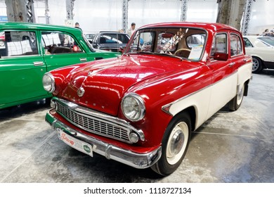 Kharkiv, Ukraine - May 19, 2018: Soviet retro car Moskvich 407 manufactured in 1962 exhibited at the festival of vintage cars Kharkiv Retro Rally - 2018 in Kharkiv, Ukraine on May 19, 2018