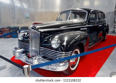 Kharkiv, Ukraine - May 19, 2018: Soviet retro car black ZIS-110 manufactured in 1945 is presented at the festival of vintage cars Kharkiv Retro Rally - 2018 in Kharkiv, Ukraine on May 19, 2018
