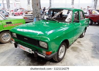 Kharkiv, Ukraine - May 19, 2018: Soviet retro car Moskvich 2140 manufactured in 1986 exhibited at the festival of vintage cars Kharkiv Retro Rally - 2018 in Kharkiv, Ukraine on May 19, 2018