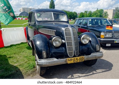 Kharkiv, Ukraine - May 22, 2016: Retro car black BMW 326 manufactured in 1936 is presented at the festival of vintage cars Kharkiv Retro Rally - 2016 in Kharkiv, Ukraine on May 22, 2016