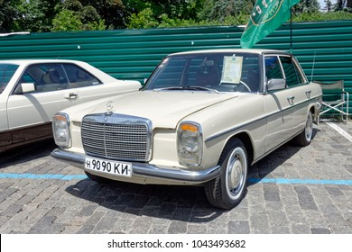 Kharkiv, Ukraine - May 28, 2017: Retro car Mercedes-Benz W123 manufactured in 1980 is presented at the festival of vintage cars Kharkiv Retro Rally - 2017 in Kharkiv, Ukraine on May 28, 2017