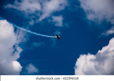 Kharkiv, Ukraine - may 8, 2016: celebration of aviation at the airfield Korotych, Kharkiv.  The plane in the air. Aircraft Yakovlev YAK-52 in the air.