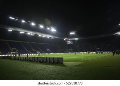 Kharkiv, UKRAINE - November 15, 2016: General view of the Metalist stadium in Kharkiv during the friendly match national football team of Ukraine vs national team of Serbia, Ukraine