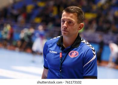 KHARKIV, UKRAINE - NOVEMBER 18, 2017: Motor head coach ROMBEL Patryk in upset mood, close-up portrait. EHF Men's Champions League match HC Motor Zaporozhye vs Sporting CP