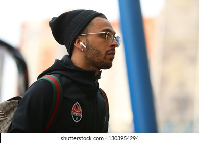 KHARKIV, UKRAINE - NOVEMBER 3, 2018: Wellington Nem close-up portrait in hat with airpods headphones before the match. Ukrainian Premier League. Shakhtar Donetsk - Dynamo Kyiv
