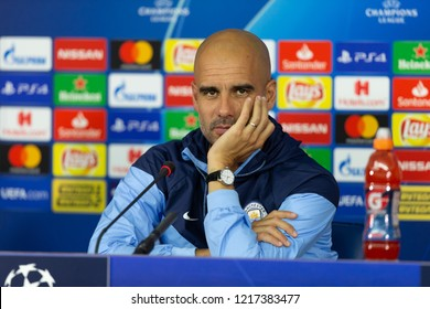 KHARKIV, UKRAINE - OCT 22, 2018: Head coach Josep Pep Guardiola looking serious into camera. Beautiful close-up portrait. UEFA Champions League press-conference Shakhtar-Manchester City.