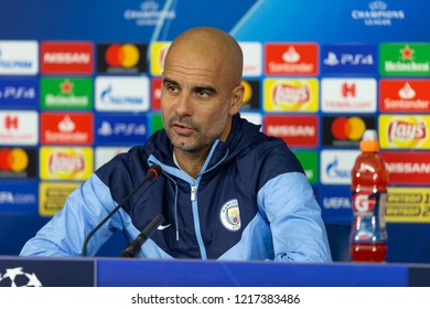 KHARKIV, UKRAINE - OCT 22, 2018: Head coach Josep Pep Guardiola speaking, looking serious. Beautiful close-up portrait. UEFA Champions League press-conference Shakhtar-Manchester City.