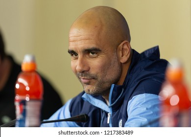 KHARKIV, UKRAINE - OCT 22, 2018: Head coach Josep Pep Guardiola happy, smiling in good mood. Beautiful close-up portrait. UEFA Champions League press-conference Shakhtar-Manchester City.