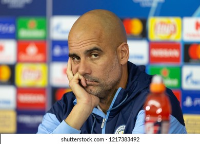 KHARKIV, UKRAINE - OCT 22, 2018: Head coach Josep Pep Guardiola looking serious at camera. Beautiful close-up portrait. UEFA Champions League press-conference Shakhtar-Manchester City.
