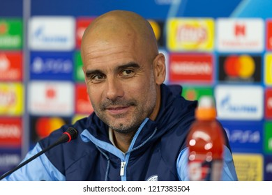 KHARKIV, UKRAINE - OCT 22, 2018: Head coach Josep Pep Guardiola smiling in good mood. Beautiful close-up portrait. UEFA Champions League press-conference Shakhtar-Manchester City.