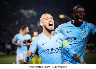 KHARKIV, UKRAINE - OCT 23, 2018: David Silva of Manchester City during the UEFA Champions League game against Shakhtar Donetsk at OSK Metalist stadium.