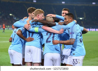 KHARKIV, UKRAINE - OCTOBER 22, 2018: FC Manchester City players celebrating goal scored by Spanish captain David Silva. Emotions of glory. UEFA Champions League Shakhtar-Manchester City. OSK Metalist