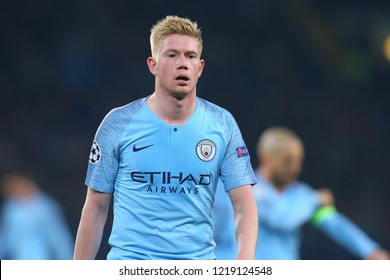 KHARKIV, UKRAINE - OCTOBER 22, 2018: Kevin De Bruyne impressive spectacular beautiful close-up portrait of Belgian midfielder. UEFA Champions League Shakhtar-Manchester City. Metalist stadium.