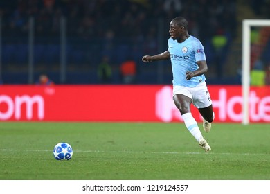 KHARKIV, UKRAINE - OCTOBER 22, 2018: Benjamin Mendy portrait running fast with impressive beautiful spectacular dribbling. UEFA Champions League Shakhtar-Manchester City. Metalist stadium.