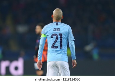 KHARKIV, UKRAINE - OCTOBER 22, 2018: Captain David Silva charismatic walking close-up view from back with number 21 on shirt. UEFA Champions League Shakhtar-Manchester City. Metalist stadium.