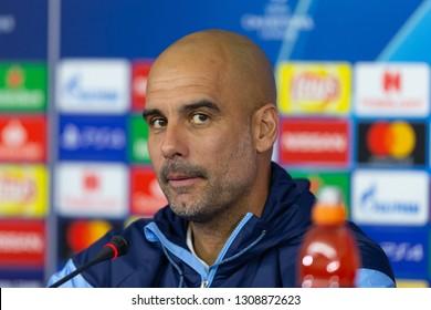 KHARKIV, UKRAINE - OCTOBER 22, 2018: Josep Pep Guardiola Sala head coach  press-conference portrait. Spanish professional football coach, former player, manager of Premier League club Manchester City