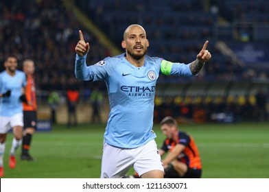 KHARKIV, UKRAINE - OCTOBER 23, 2018: David Silva of Manchester City reacts after scored a goal during the UEFA Champions League game against Shakhtar Donetsk at OSK Metalist stadium. ManCity won 3-0