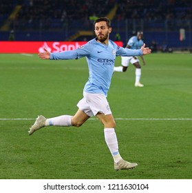 KHARKIV, UKRAINE - OCTOBER 23, 2018: Bernardo Silva of Manchester City celebrates after scored a goal during the UEFA Champions League game against Shakhtar Donetsk at OSK Metalist stadium in Kharkiv