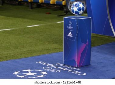 KHARKIV, UKRAINE - OCTOBER 23, 2018: Official UEFA Champions League 2018/19 match ball on the pedestal before UEFA Champions League game Shakhtar Donetsk v Manchester City at OSK Metalist stadium