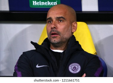KHARKIV, UKRAINE - OCTOBER 23, 2018: Manchester City manager Josep Guardiola looks on during the UEFA Champions League game against Shakhtar Donetsk at OSK Metalist stadium in Kharkiv, Ukraine