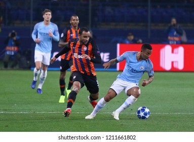 KHARKIV, UKRAINE - OCTOBER 23, 2018: Ismaily of Shakhtar Donetsk (L) fights for a ball with Gabriel Jesus of Manchester City during their UEFA Champions League game at OSK Metalist stadium in Kharkiv