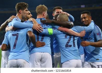 KHARKIV, UKRAINE - OCTOBER 23, 2018: Manchester City players celebrate after David Silva scored a goal during the UEFA Champions League game against Shakhtar Donetsk at OSK Metalist stadium in Kharkiv