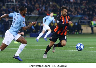 KHARKIV, UKRAINE - OCTOBER 23, 2018: Maycon of Shakhtar Donetsk controls a ball during the UEFA Champions League game against Manchester City at OSK Metalist stadium in Kharkiv. ManCity won 3-0